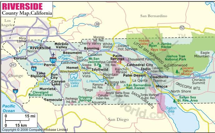 riverside county california map california map
